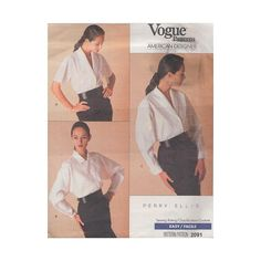 Easy Shirt Pattern UNCUT Vintage '80s Vogue Sewing Pattern 2091 Designer Perry Ellis/Collar & Sleeve Variations/Size 8 to 12 Bust 31.5 to 34