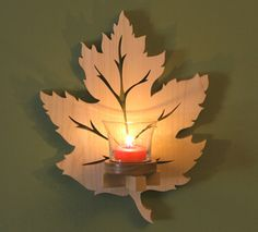 Leaf Sconce Project Plan. Surprise a candle lover in your family with this scroll-sawn wall accent. It's a gift you can make in an afternoon.