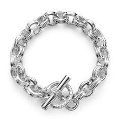 SLANE Oval Link Sterling Silver Bracelet, Large
