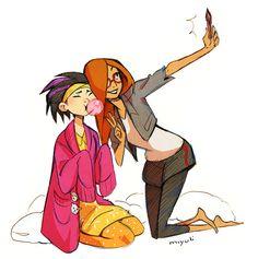 Gogo Tamago and Honey Lemon selfie :'D
