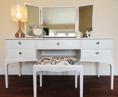 STAG MINSTREL 5 DRAWER DRESSING TABLE STOOL & TRIPLE MIRROR chic bedroom vintage | eBay
