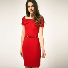 Aliexpress.com: Comprar Vestido de Verano de la mujer Delgada Roja, Bowknot en el hombro de ayuda del vestido fiable proveedores en Zhejiang Ista Trading Co.,LTD