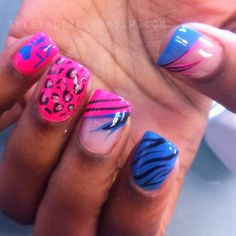 #nails #nailart #naildesign #naildesigns #abstract #art #colorful #cheetah #zebra #leopard #animal #pink