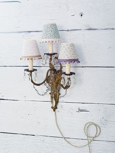 Vintage light with bespoke candle shades