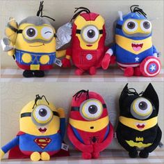 6pcs/lot 23cm Despicable Me changed The Avengers Minions High Quality anime Toy Plush Toy brinquedos Best Gifts For Children