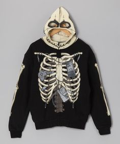 Take a look at this Black Ribcage Zip-Up Hoodie by Four Seasons on #zulily today!