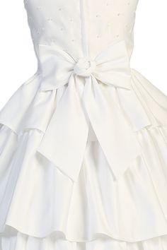 Back Ruffle Skirting & Pearl Beads Matte Satin First Holy Communion Dress (Girls Sizes 5 to 14)