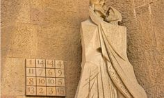 A magic square in the Passion facade of the Sagrada Familia cathedral in Barcelona; the constant is 33, Jesus's age at his crucifixion