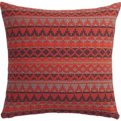 """CB2 Aspen 20"""" Pillow With Down-Alternative Insert ($50) ❤ liked on Polyvore featuring home, home decor, throw pillows, grey home decor, plush throw pillows, red accent pillows, cb2 and red home decor"""