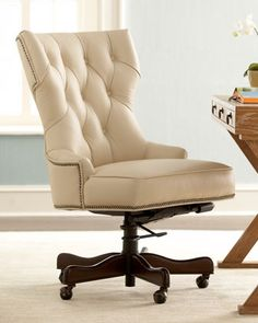 "NEIMAN MARCUS Conroy Leather Office Chair Color:: Soft Beige 24.5""W   X   31""D   X   38""T adjusts up to 40""T $989"