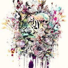 Interpretation of a dream - Tiger #wild #animals #tiger #skull #art #print #home #wallart #flowers