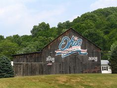 For Ohio's 200 year celebration, a barn in every county was painted with this Bicentennial logo.  The one in Brown County was just east of Ripley along the Ohio river Scenic Byway (U.S. highways 52, 62 & 68).