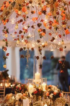 , Who says you can't have hanging floral arrangements in the Fall? , 10 Gorgeous Hanging Floral Arrangements That Will Wow Your Guests Wedding Ceremony Ideas, Wedding Aisle Decorations, Wedding Venues, Fall Wedding Centerpieces, Table Decorations, Fall Wedding Table Decor, Autumn Decorations, Wedding Mandap, Thanksgiving Decorations