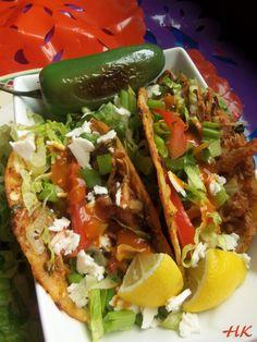 Tacos de Guisado de Pollo Poblano (Braised Chicken Poblano Tacos) HispanicKitchen.com