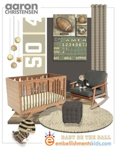Sports nursery mood board by Embellishmentskids.com featuring sports art by Aaron Christensen and the wired Crib by Numi Numi Design.