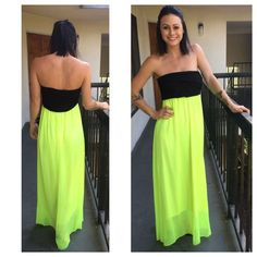 NEW Neon Green & Black Strapless Maxi Dress / Size Medium / Boutique Brand #Nymphe #Maxi #Casual