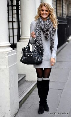 Oversized sweater with big scarf and boots