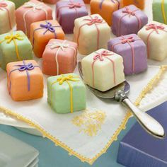 tea party theme food idea.  You could flavor the cakes and frosting with Kool-aid for a variety of flavors