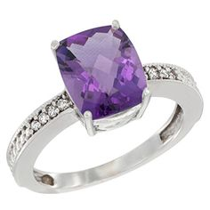 14K White Gold Diamond Cushion 10x8 mm Natural Amethyst Stone Ring size 10 *** Read more  at the image link.