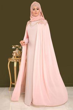 ** YENİ ÜRÜN ** Şifon Pelerinli Tesettür Abiye Pudra Ürün kodu: DMN7992 --> 249.90 TL Modest Fashion Hijab, Indian Fashion Dresses, Abaya Fashion, Fashion Outfits, Muslim Women Fashion, Islamic Fashion, Muslimah Wedding Dress, Wedding Abaya, Hijab Evening Dress