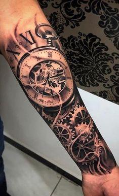Tattoos Discover 80 Photos Of Male Arm Tattoos Clock Tattoo Sleeve, Forearm Sleeve Tattoos, Best Sleeve Tattoos, Sleeve Tattoos For Women, Forearm Tattoos For Guys, Clock Tattoos, Time Tattoos, Body Tattoos, Hand Tattoos