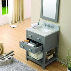 Water Creation 24 in. D x 34 in. H Vanity in Cashmere Grey with Marble Vanity Top in Carrara White-Madalyn - The Home Depot Home Depot Bathroom Vanity, 30 Inch Bathroom Vanity, 24 Vanity, Vanity Drawers, Rustic Bathroom Vanities, Bathroom Vanity Cabinets, Vanity Sink, Black Vanity, Marble Bathrooms