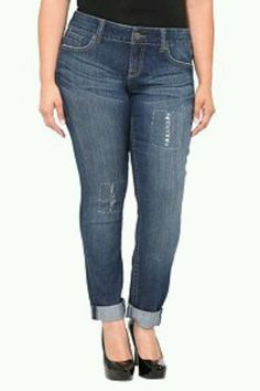 020fc068dda39 Torrid Denim - Distressed Rolled Cuff Skinny Jeans SKU  506682 I love a  rolled cuff with some distressing because it looks like your favorite pair  of old ...
