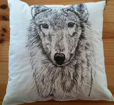 'Lady' hand drawn wolf Game of Thrones inspired cushion