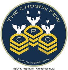 "4"" Round ""CPO Chevrons - The Chosen Few"" Sticker"