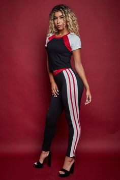 STYLE # 183324 Web Exclusive ESTELLE WOMEN'S CONTRAST STRIPED PANTS + COLORBLOCK SHIRT SET $32.99 Athleisure Trend, Athleisure Fashion, Striped Pants, All In One, Online Marketing, Make Your Own, Color Blocking, Contrast, Stylish