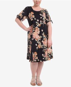 NY Collection Plus Size Floral Print A-Line Dress