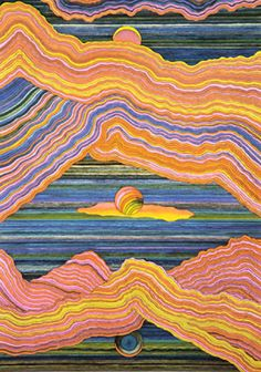 Mussorgsky = Ravel: Pictures At An Exhibition/Ravel: La Valse/ Zubin Mehta/ New York Philharmonic Kiyoshi Awazu (Japan, Tokyo Japan, 1979 # art Kunst Inspo, Art Inspo, Art And Illustration, Hippie Art, Funky Art, Art Graphique, Psychedelic Art, Japanese Art, Monet