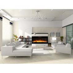 Elite Flame 50 Inch Fusion Pebble Built-in Smokeless Wall Mounted Electric Fireplace