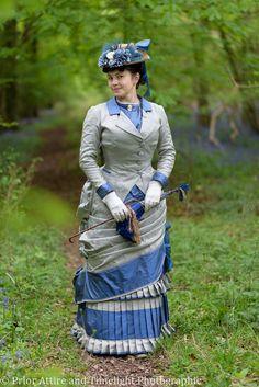 1880 walking dress in silk faille Victorian Natural Form era by Prior Attire