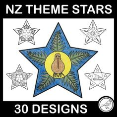 A set of 30 black and white stars designed with a New Zealand theme. Great for colouring and displaying on your wall when celebrating Matariki (the Māori New Year). All stars are the same size (approximately 18cm x 18cm) and designed on A4 size paper. A blank template is also included for your st... School Resources, Classroom Resources, Teaching Resources, Stocking Template, Goal Setting Template, Black And White Stars, Kiwiana, Spelling Words, Classroom Environment
