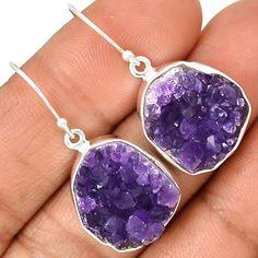 Amethyst Druzy 925 Sterling Silver Earrings Jewelry AMDE210