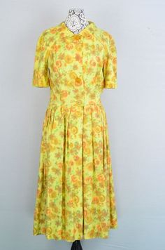 Vintage 1940s1950s yellow floral silk day by 86CharlotteStreet, $98.00