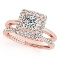 Wedding Set Princess Cut Bezel Set Diamond Halo Engagement Ring with Matching Diamond Band - Belle