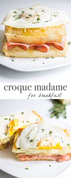 Croque Madame recipe for breakfast! Swap out bread for waffles to make this a breakfast sandwich dream! Recipe via MonPetitFour.com