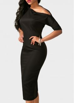 Skew Neck Back Slit High Waist Sheath Bodycon Black Party Club Midi Dress, one shoulder design endow this dress with women's sexiness, don't miss.