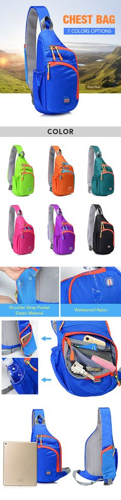 US$13.88  Casual Lightweight Waterproof Nylon Chest Bag Outdoor Sport Crossbody Bag