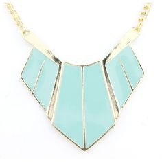 Beautiful Gold-tone BLUE Funky Statement Necklace. $3.99, via Etsy.
