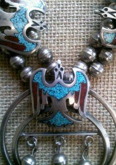 VINTAGE Sterling Silver NAVAJO Necklace Turquoise BIRDS Squash Blossom | eBay