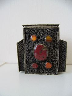 Vintage filigree & hard stone cigarette table box &match holder .Tobacciana