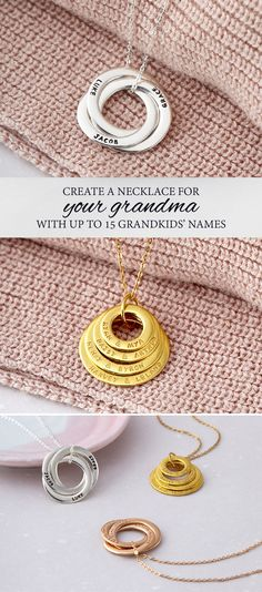 Personalized grandmother necklaces with names of grandchildren or family names are great gifts for nana. Grandma Necklace, Name Necklace, Gold Necklace, Diy Gifts For Grandma, Russian Ring, Image Gifts, Handmade Jewelry Designs, Sentimental Gifts, Simple Jewelry