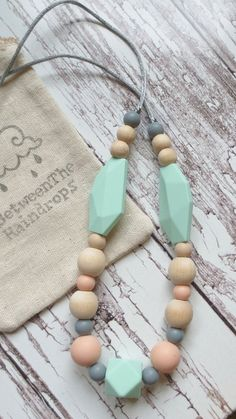 Teething Necklace Silicone Babywearing by InBetweenTheRaindrop