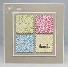 handmade card ... squares within squares ... like the postage stamp punched squares cutting out a section of a much larger stamped flower ... thumping method to get variation in color depth ... Stampin' Up!
