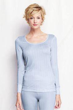Noreen Carmody in a Women's Silk Pointelle Scoop Neck Top from Lands' End. Available in light blue, white or black.