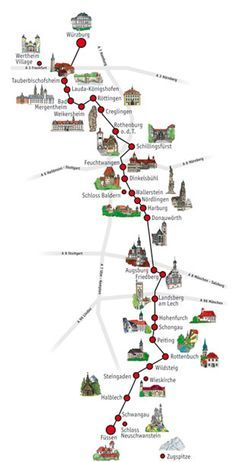 Romantic Road spans 220 miles from Würzburg to Füssen in Bavaria and Baden-Württemberg. It links several picturesque towns and castles including Nördlingen, Rothenberg ob der Tauber and Neuscwanstein Castle.