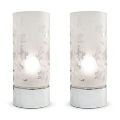 Pair of Florette Etched Glass Touch Table Lamps in Chrome